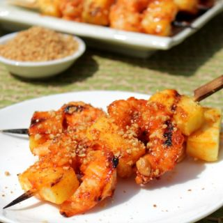 Sriracha Glazed Shrimp and Pineapple Skewers