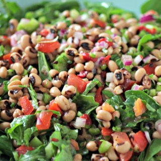Black Eyed Pea and Dandelion Greens Salad
