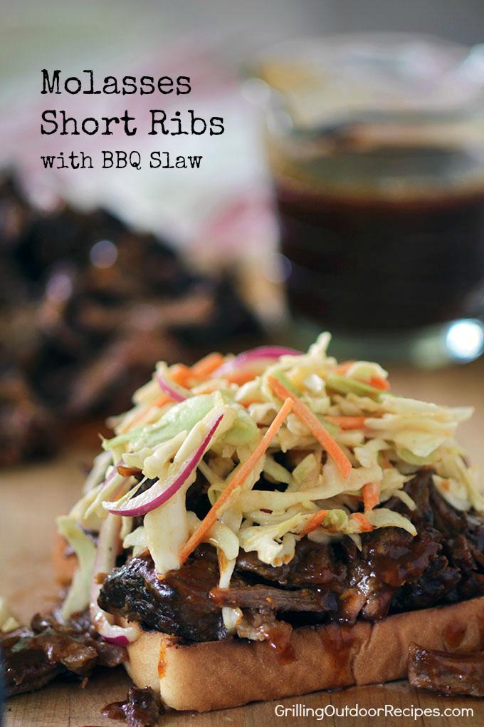 Short RIb Sandwich w BBQ Slaw - v