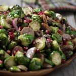 Grill Roasted Brussels Sprouts with Pheasant Sausage and Pomegranate Vinaigrette