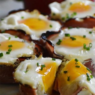 Mother's Day Egg Cups with Crispy Ham and Shredded Potatoes