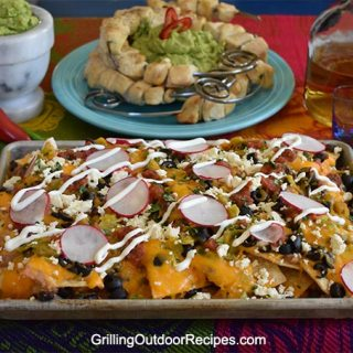 Fully Loaded Nachos with Tequila-Lime Skewers