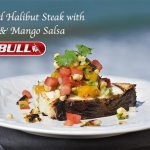 Grilled Halibut Steak with Corn & Mango Salsa