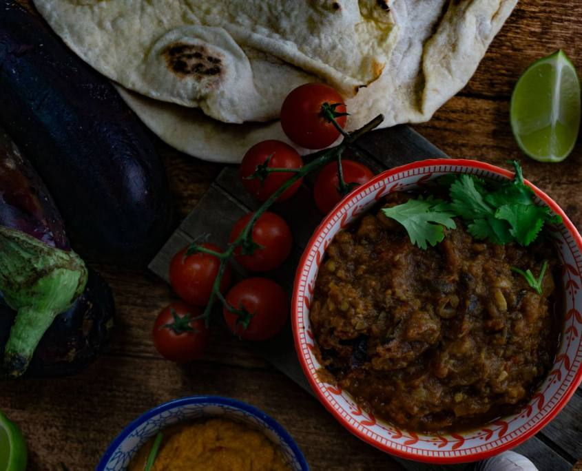 Auberginen Eintopf stew vegan grillnations Rezept