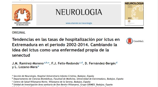 Nueva publicación en la revista NEUROLOGIA: Cambios en la tendencia de la edad en pacientes ingresados por ictus en Extremadura