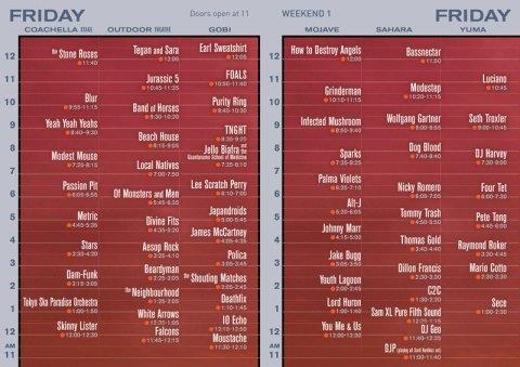 Coachella 2013 Set Times Friday Weekend 1