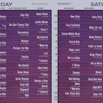 Coachella 2013 Set Times Saturday Weekend 1