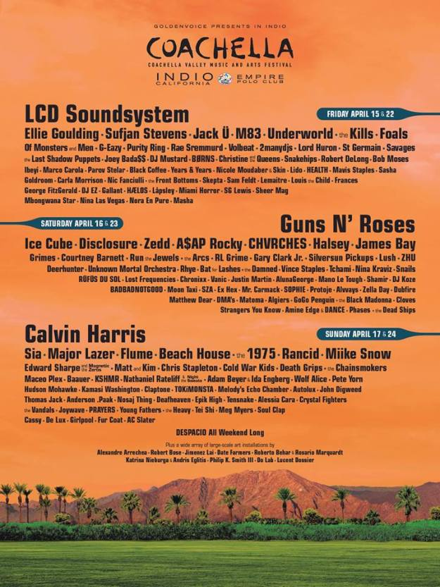 Coachella 2016 lineup poster