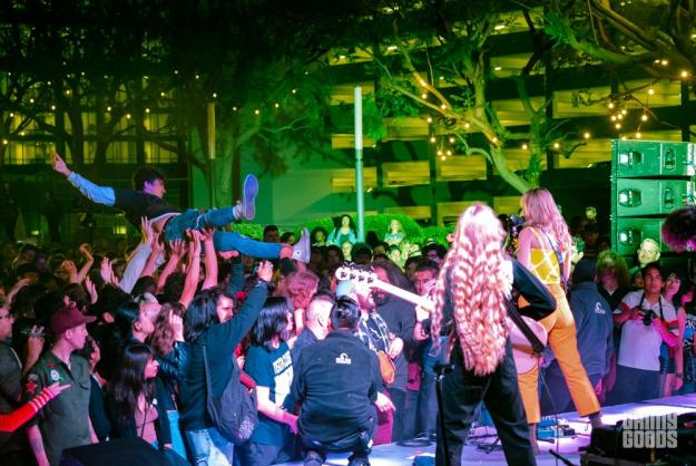 Fans crowd-surfing to Cherry Glazerr's set at figat7th