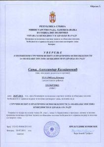 Uverenje - Strucni ispit - Bezbednost i zdravlje na radu - Sanja Kalajanovic