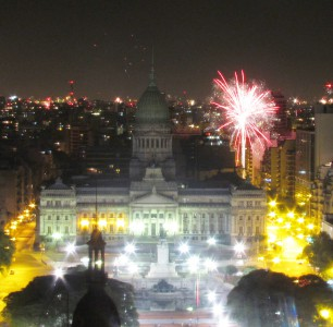 Fireworks next to Congreso