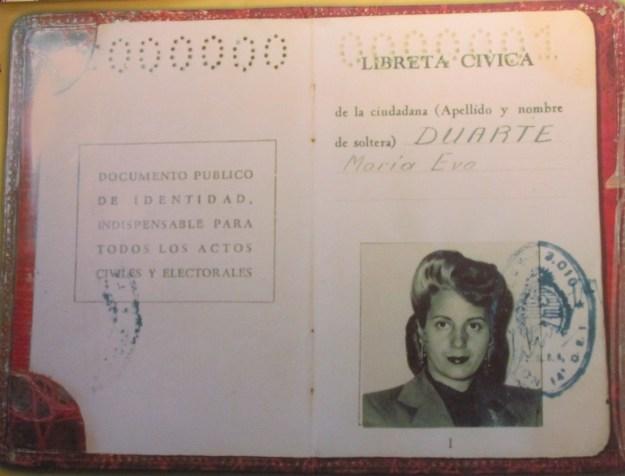 Eva Peron's ID card