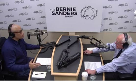 Larry Wilmore and Bernie Sanders