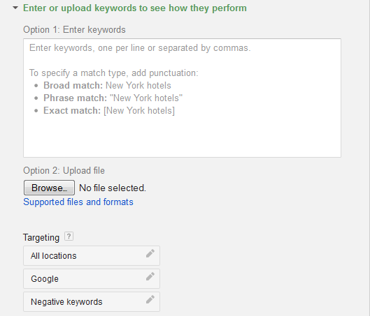 Enter Keywords into Keyword Planner