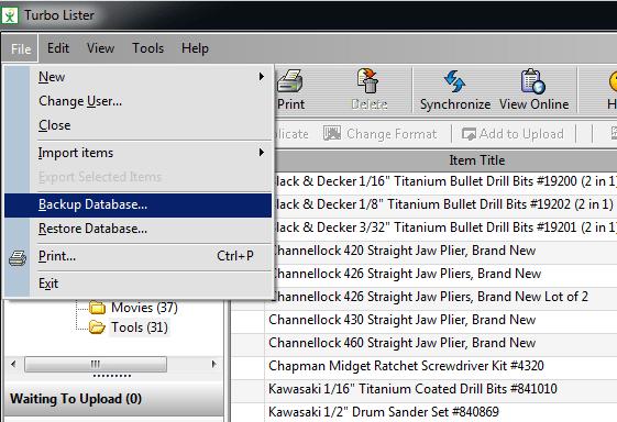 Backup database in Turbo Lister.
