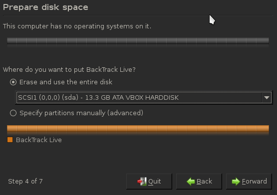 Prepare disk space during BackTrack Install.