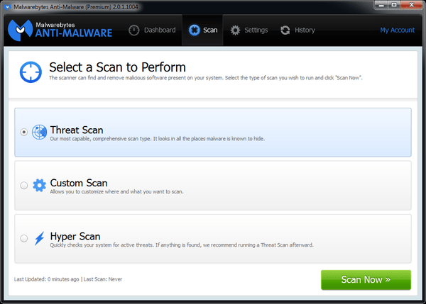 Choosing a Malwarebytes scan.