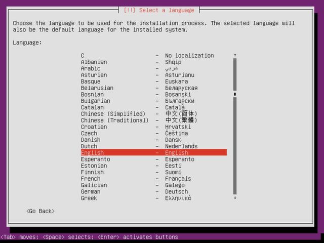 Select a language for Ubuntu Server.