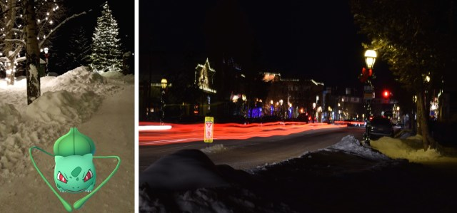 Snow and lights at night on main street Breckenridge through catching a bulbasaur in Pokemon Go and slow shutter speed.