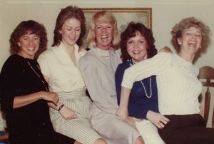 Susie with her girl cousins, Ellen, Jacqueline, Joanne, Carol - trying to pose like their mothers