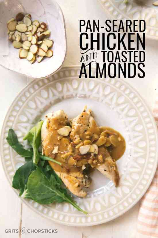 almonds and sushi pan seared chicken with toasted almonds grits chopsticks