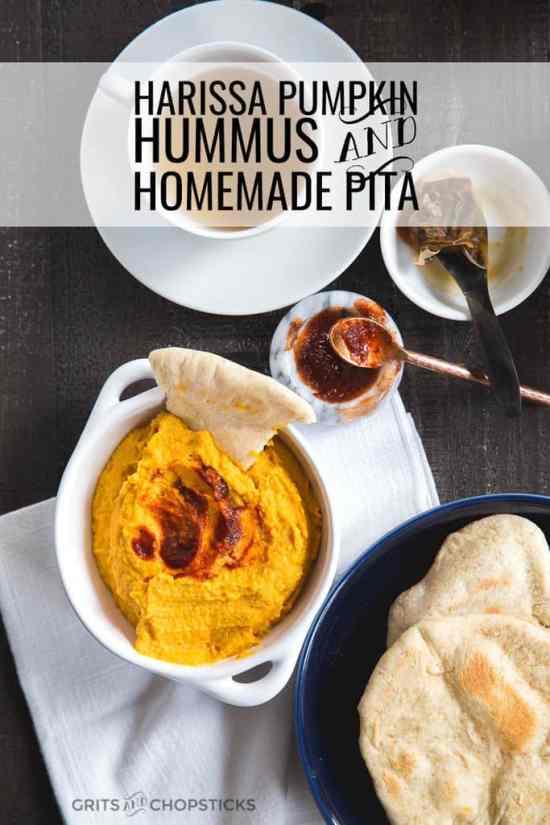 harissa pumpkin hummus with homemade pita