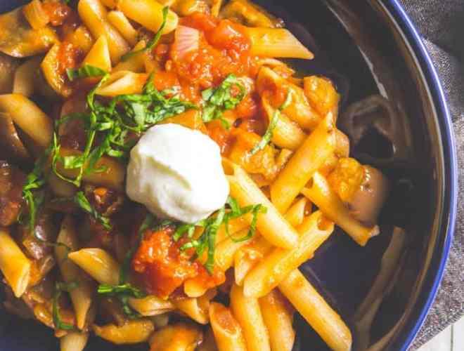 gluten free roasted eggplant pasta