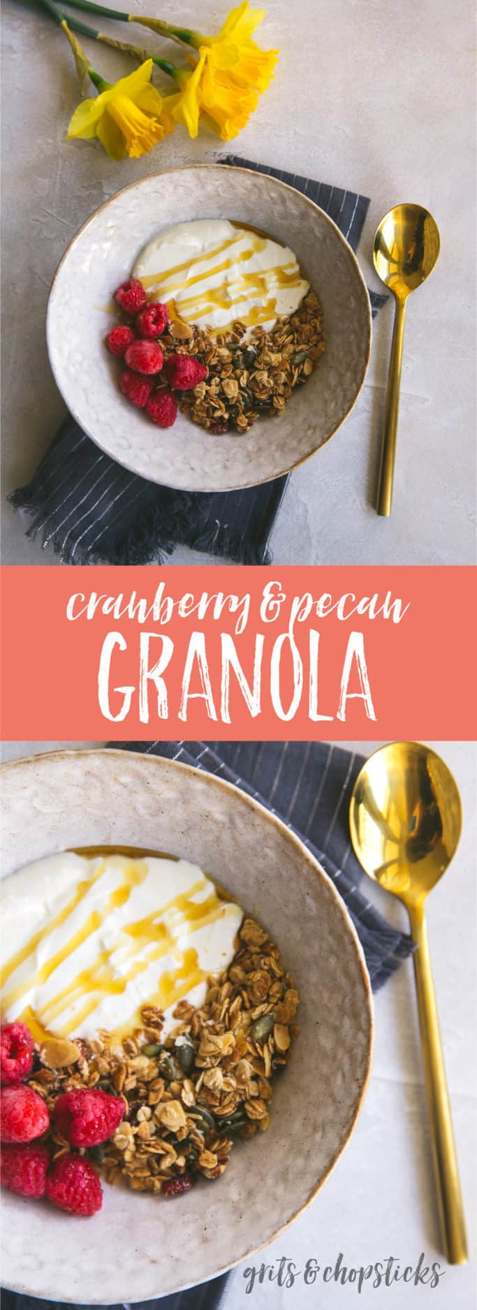 This cranberry pecan granola is really easy to make and is a great way to start your mornings!