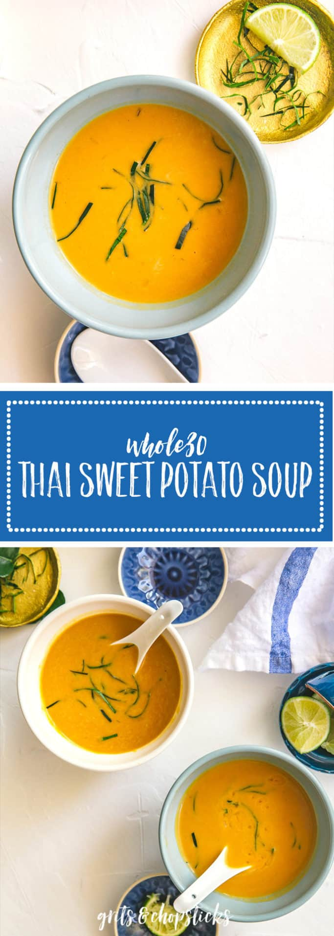 This Whole30/paleo Thai sweet potato soup is a great way to ease into healthier eating. Try it as a part of your dinner for a warm, comforting meal.