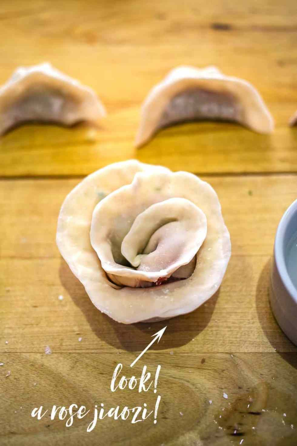 Learn how to make dim sum, including this impressive rose jiaozi (dumpling)! Details and a how-to video on the blog!