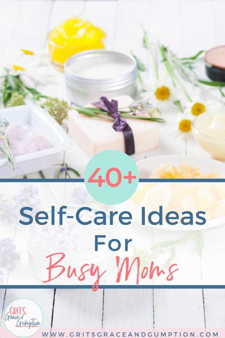 We moms tend to put ourselves at the bottom of our endless to-do lists if we make it onto the list at all. Here are 40+ ideas that'll help you make self-care a priority!