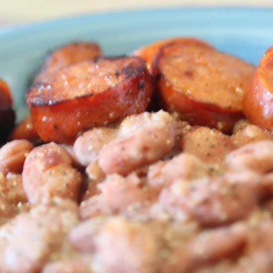 Rice Beans and Sausage with Luck's Beans