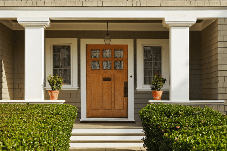 Make a statement with subtle wood detailing on your front door