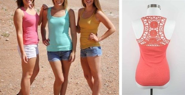 Crochet Back Layering Tank Only $5.99! Down From $14.99! 12 Colors!