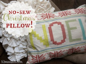 DIY No Sew Holiday Pillow!