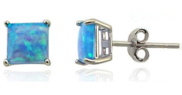 Princess-Cut Blue Opal Stud Earrings Just $10.99! Down From $500! Ships FREE!