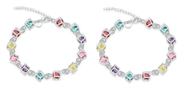 Rainbow Rubix Cube Charm Bracelet