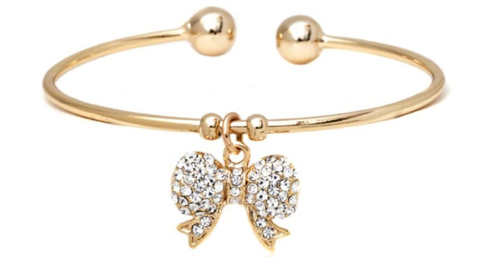 Sparkling Crystal Bow Charm Bangle Just $9.99! Down From $140! Ships FREE!