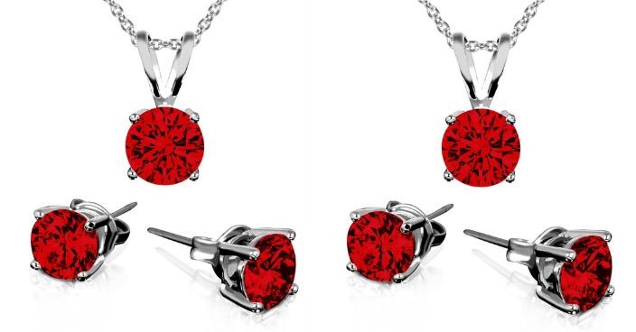 Birthstone Sterling Silver Earring & Pendant Set Just $8.99! Down From $130! Ships FREE!