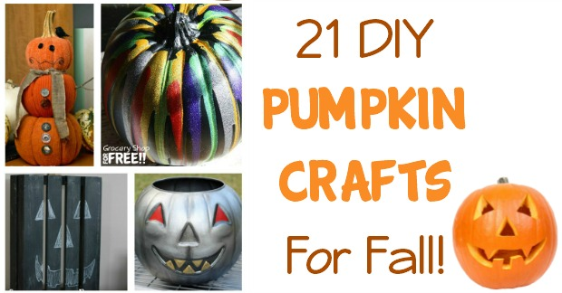 What Fall or Halloween decor would be complete without pumpkins?  Here are 21 crafty DIY ideas for adding pumpkins to your decorating this year!