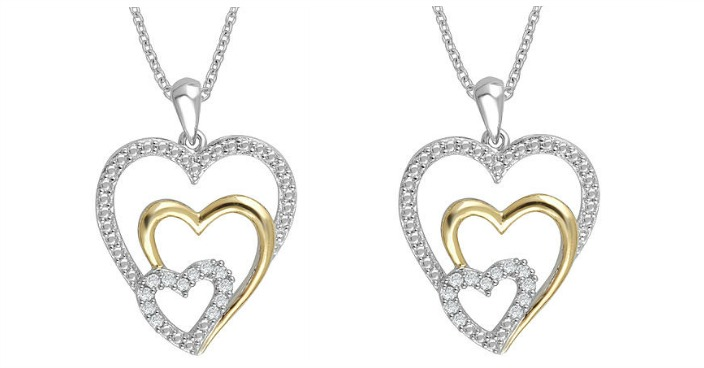 Two-Tone Sterling Silver Heart Necklace Just $15.99! Down From $100!