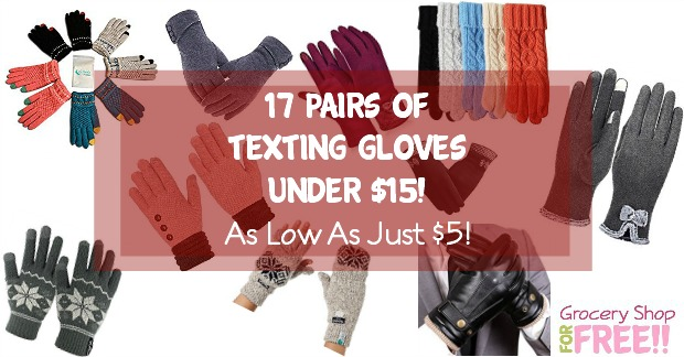 I love my texting gloves, so I thought I would share 17 Pairs Of Texting Gloves Under $15!  Some of them are priced as low as just $5!  Check them out!
