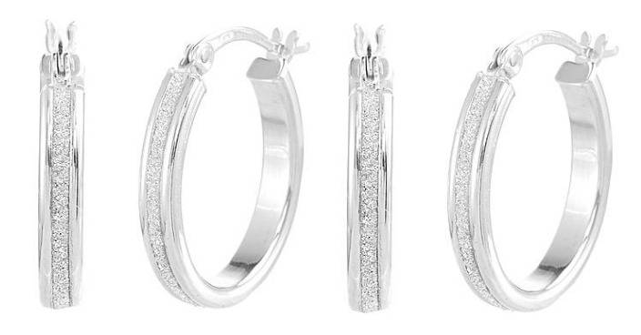FREE Sterling Silver Glitter Oval Hoop Earrings!