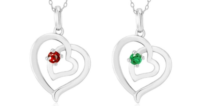 Sterling Silver Heart Birthstone Necklace Just $5.99! Down From $130! Ships FREE!