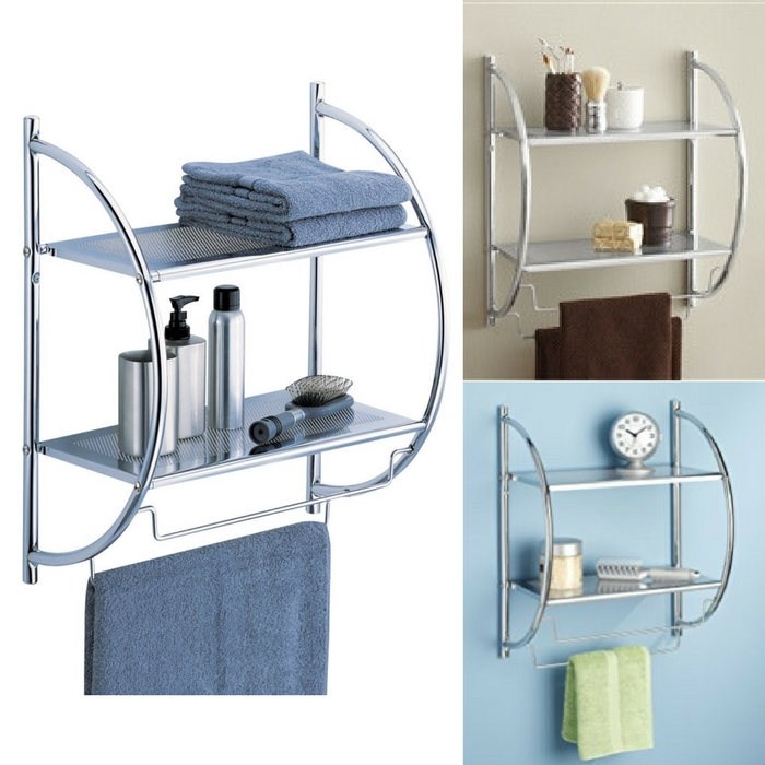 2-Tier Shelf With Towel Bars Just $11.98! Down From $30!