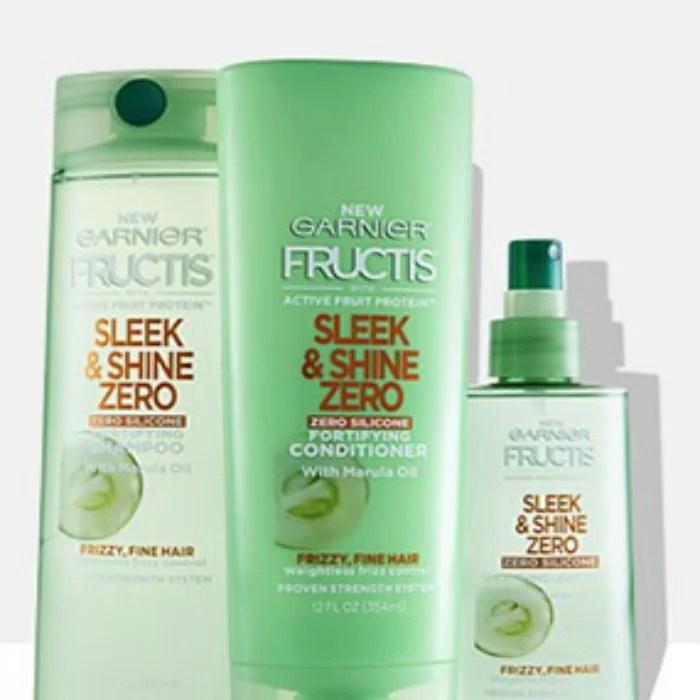 FREE Garnier Fructis Sleek & Shine Zero Shampoo, Conditioner, And Leave-In Treatment Sample!