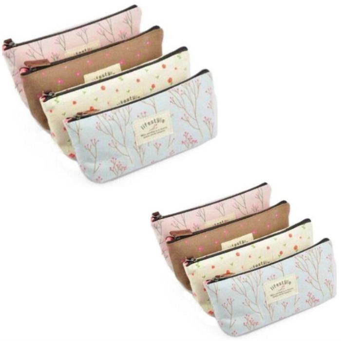 Set of 4 Pastel Flower Canvas Cosmetic/Pencil Cases Just $4.38!
