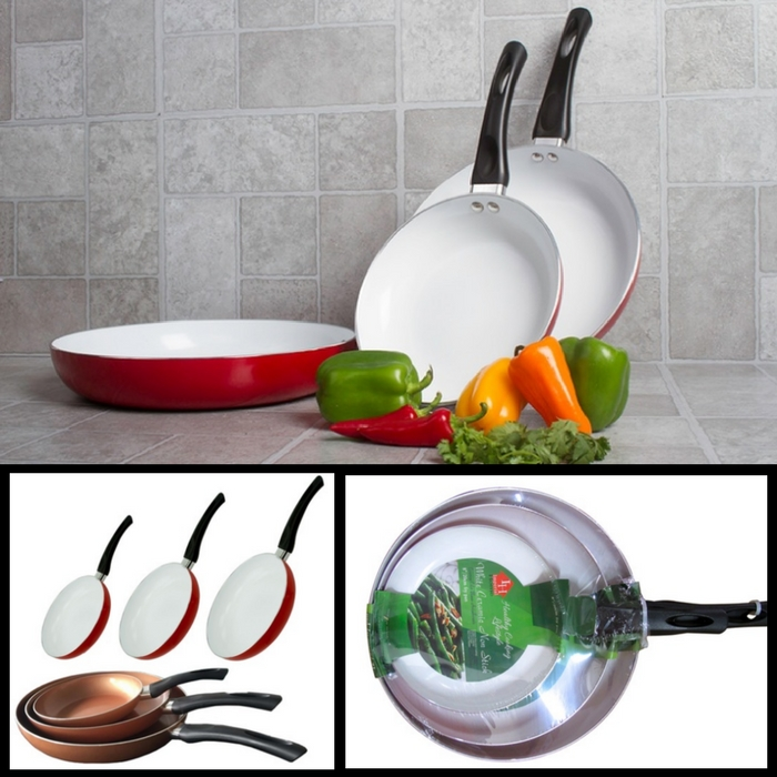 3-Piece Ceramic Fry Pans Just $22.99! Down From $60! TODAY ONLY!
