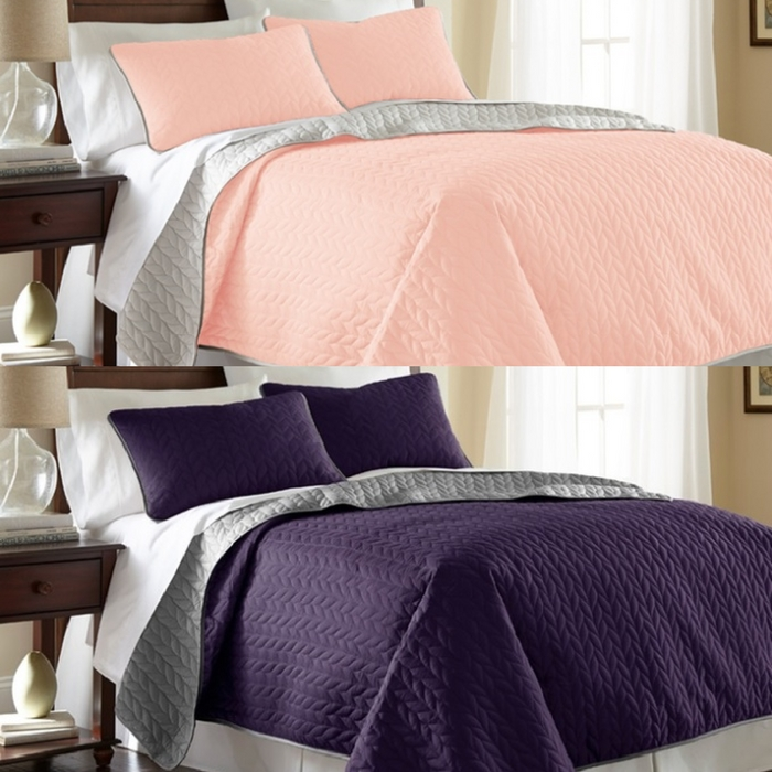 3-Piece Solid Reversible Coverlet Set Just $19.99! Down From $65! TODAY ONLY!