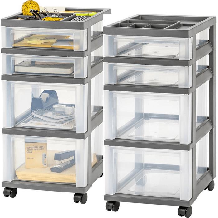 IRIS 4-Drawer Storage Cart With Organizer Top Just $12.48!